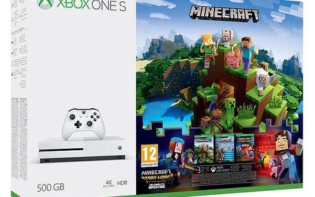 Herní konzole Microsoft Xbox One S 500 GB + Minecraft, Minecraft Story Mode, 3 měsíční Zlaté členství Xbox Live + dárek (ZQ9-00297)