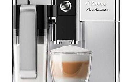 Espresso Saeco PicoBaristo SM3061/10 stříbrné + dárek Káva zrnková Simon Lévelt BIO Uganda 250 g v hodnotě 159 Kč + DOPRAVA ZDARMA