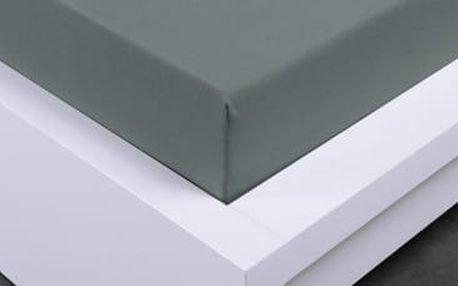 XPOSE ® Jersey prostěradlo Exclusive dvoulůžko - tmavě šedá 140x200 cm