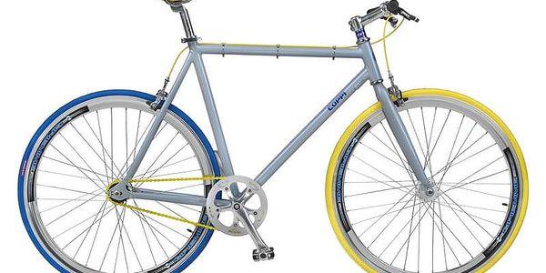 Městké kolo Coppi Scatto Fisso modré/žluté + Taška Dunlop Retro street v hodnotě 399 Kč + Doprava zdarma3