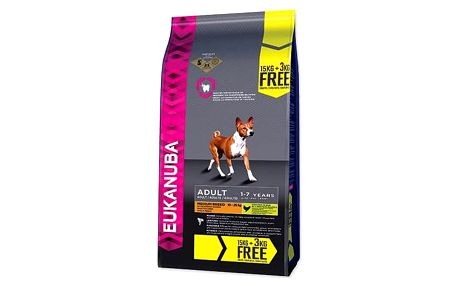 Eukanuba Adult Medium Breed 15 kg + 3 kg ZDARMA
