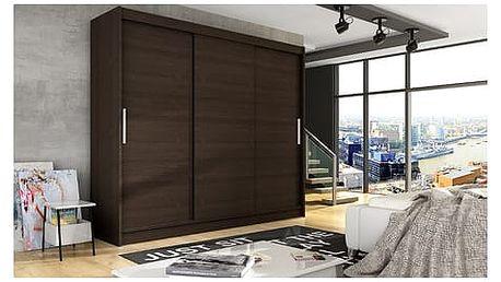 Velká šatní skříň ASTON II čokoládová šířka 250 cm