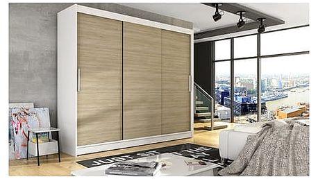 Velká šatní skříň ASTON II bílá/dub sonoma šířka 250 cm