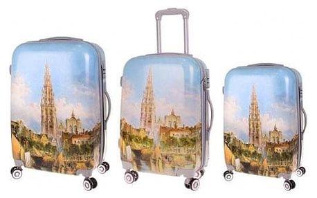 Sada 3 skořepinových kufrů (chrám)
