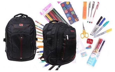 Batoh černý s náplní školních potřeb