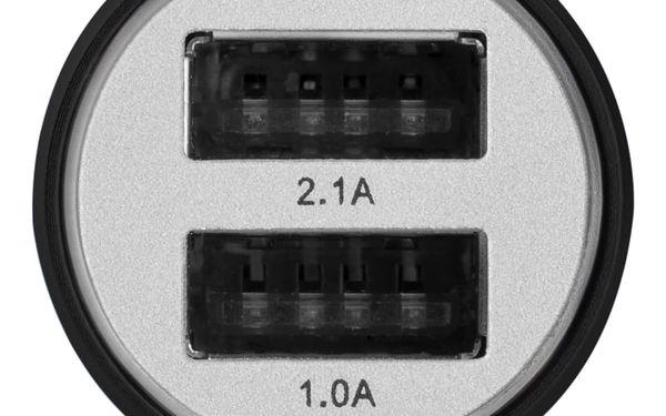 Adaptér do auta GoGEN kovový bezpečnostní hrot, 2x USB (CHH25B) černý3