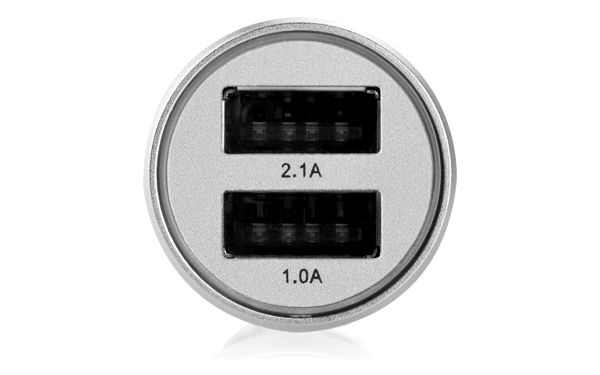 Adaptér do auta GoGEN kovový bezpečnostní hrot, 2x USB (CHH25S) stříbrný5