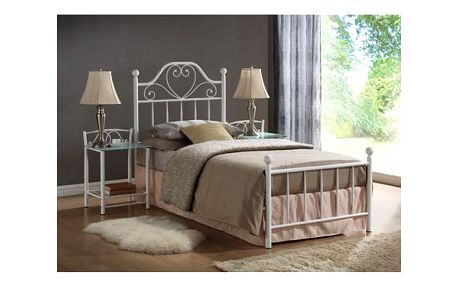Kovová postel LIMA 90x200 cm bílá