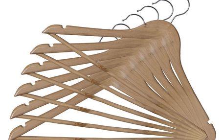 Sada 6 dřevěných ramínek se zářezy a kalhotovou tyčí Domopak Somopak Basic
