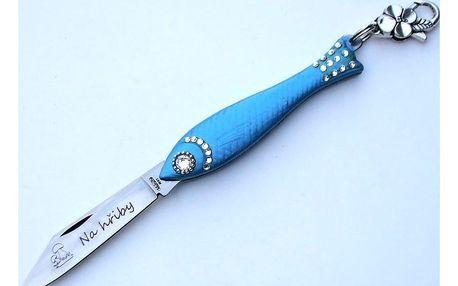 Světle modrý český nožík rybička s nápisem Na Hřiby v designu od Alexandry Dětinské