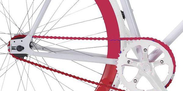 Městké kolo Coppi Scatto Fisso bílé/červené Sada cyklodoplňků (zvonek+blikačka+světlo) pro kolo dospělé (zdarma)Taška Dunlop Retro street + Doprava zdarma3
