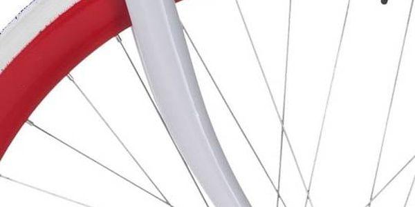 Městké kolo Coppi Scatto Fisso bílé/červené Sada cyklodoplňků (zvonek+blikačka+světlo) pro kolo dospělé (zdarma)Taška Dunlop Retro street + Doprava zdarma4