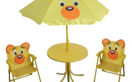 Happy Green Set kempingový BEAR -slunečník, stoleček, 2 křesílko