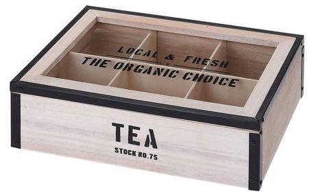 Dřevěný box na čaj, 6 přihrádek - přírodní dřevo Emako
