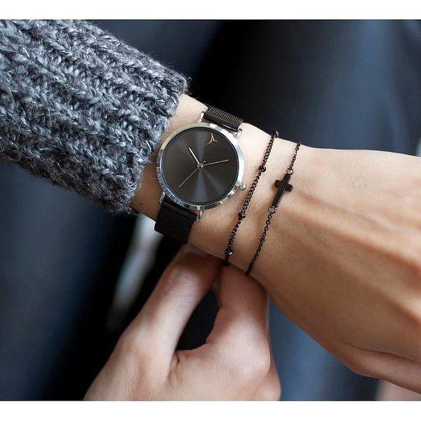 Dámské hodinky s černým páskem z nerezové oceli Emily Westwood Black3