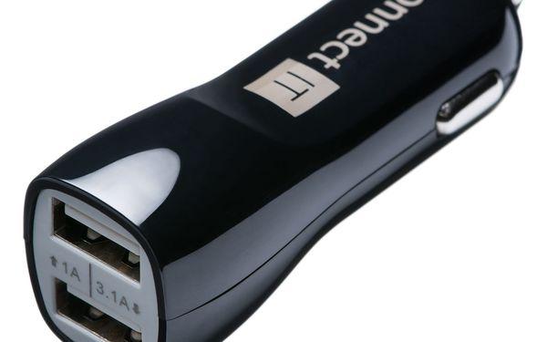 Adaptér do auta Connect IT PREMIUM, 2x USB, 3.1A/1A + micro USB kabel 0,25m (CI-243) černý3