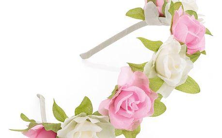 Růžovo bílá čelenka do vlasů Floral 31324