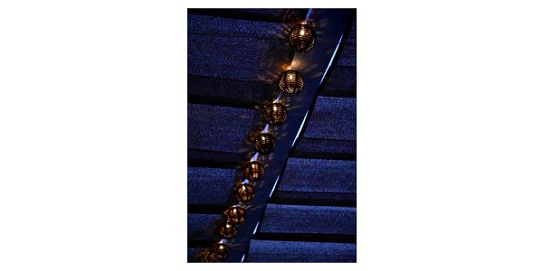 SHARKS 10 LED solární osvětlení - rattan koule SA1182