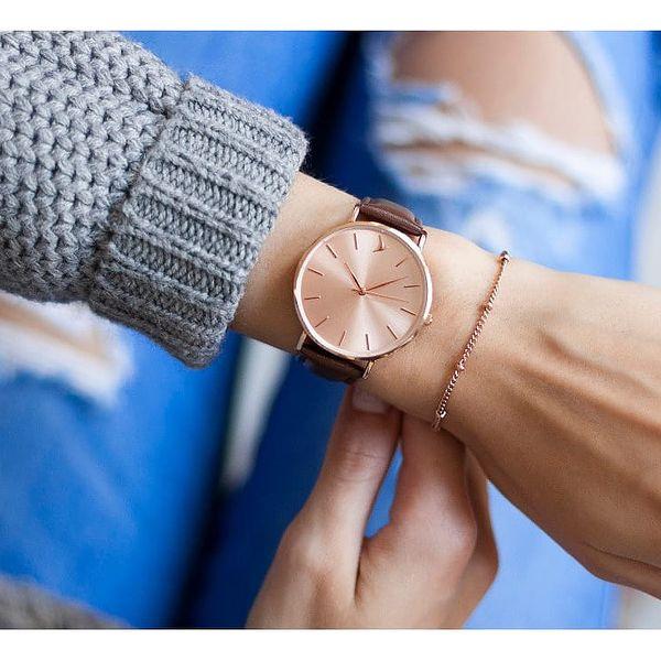 Dámské hodinky s hnědým páskem z pravé kůže Emily Westwood Top - doprava zdarma!2