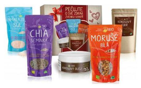 ES BIO Dárkový balíček SUPERPOTRAVIN Bio a Raw ES BIO Chia semínka 150 g+ ES BIO Kokosový olej 250 ml+ES BIO Kokosový cukr 250 g+ES Himalájská sůl 500 g+ES BIO Moruše bílá 150 g