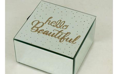 Úložná krabička na šperky ze skla a kovu Duo Gift Hello, 12 x 12 cm