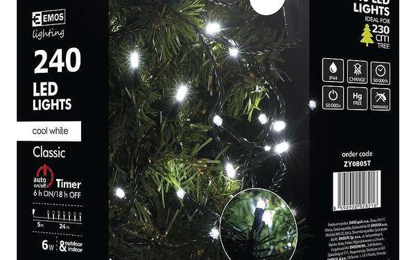 Vánoční osvětlení EMOS 240 LED, 24m, řetěz, studená bílá, časovač, i venkovní použití (1534080055)4