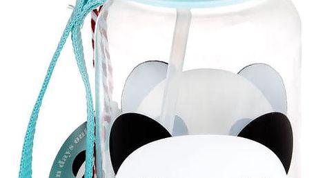 Modrá dětská láhev s brčkem Rex London Miko The Panda, 500ml