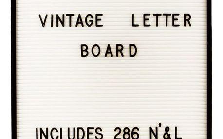 Bílá nástěnná tabule s černými písmeny Fisura Vintage