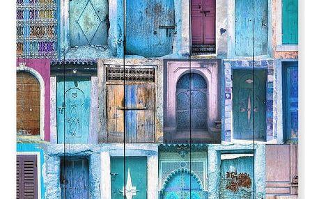 Dřevěná cedule Really Nice Things Blue Doors, 60 x 40 cm