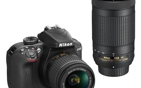 Digitální fotoaparát Nikon D3400 + AF-P 18-55 VR + 70-300 VR + 4x čištění čipu zdarma (VBA490K005) černý Elektronický fotorámeček Hyundai LF 1030 MULTI černý v hodnotě 1 999 Kč + DOPRAVA ZDARMA