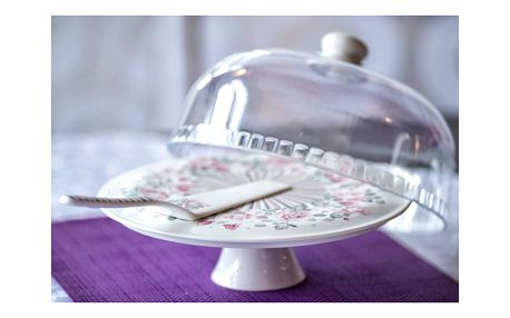 Podnos na dort s poklopem a dortovou lžící Duo Gift Rosa, Ø 28 cm