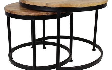 Sada 2 stolků s deskou z mangového dřeva HSM collection Sanndine