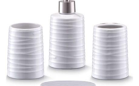 ZELLER Keramický koupelnový doplňkový set WHITE - 4 kusy v sadě