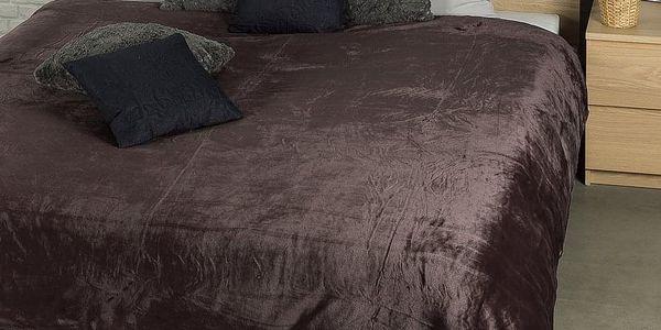 JAHU Deka XXL / Přehoz na postel tmavě hnědá, 200 x 220 cm2