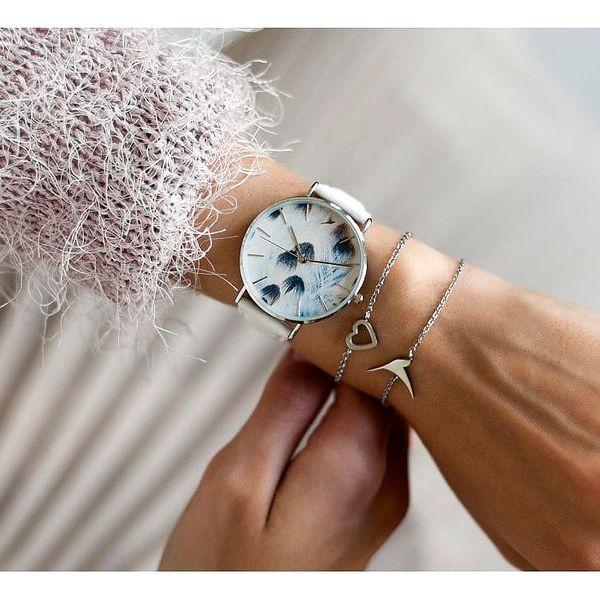 Dámské hodinky s bílým páskem z pravé kůže Emily Westwood Feather3