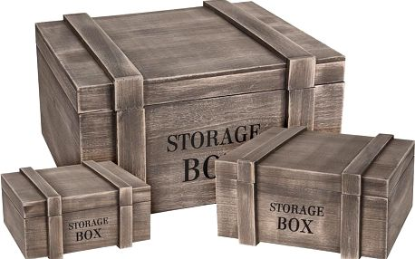 Box pro skladování, dřevěný - 3 ks Storagesolutions