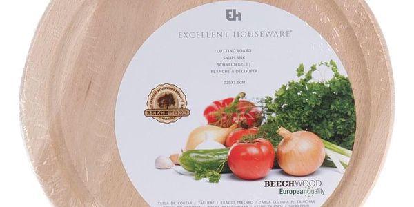 EH Excellent Houseware Dřevěné krájecí prkénko - kuchyňské, kruhové2