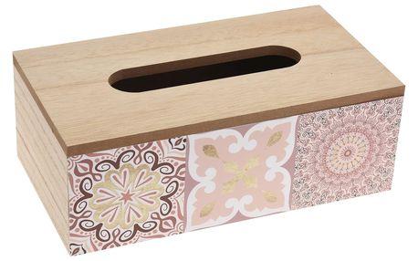 Dřevěný box na kapesníky Chinoas růžová, 24 cm