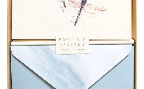 Sada 10 komplimentek s obálkami Portico Designs Dragonflies
