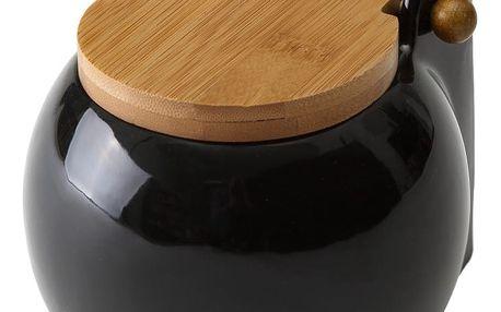 Černá dóza na sůl s víkem Unimasa Ceramic, 700ml