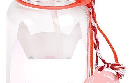 Růžová lahev na vodu Rex London Cookie the Cat