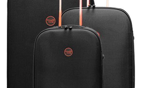 Sada 3 černých cestovních kufrů na kolečkách Travel World Let´s Go