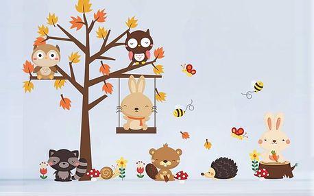 Strom s lesními zvířátky 140 x 80 cm