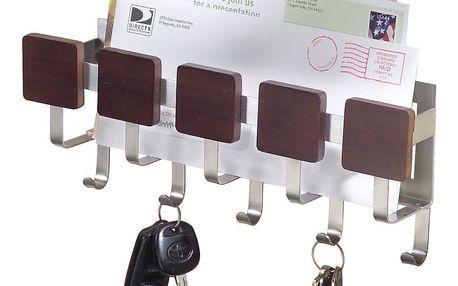 Nástěnný držák na klíče s přihrádkou na dopisy InterDesign Fombu