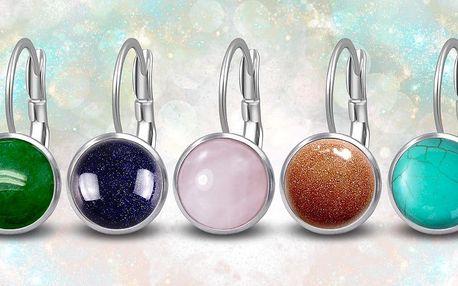 Ocelové náušnice Gemstone s přírodními kameny