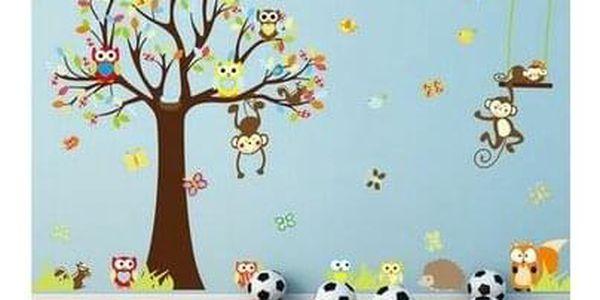 Samolepka na zeď Samolepka pohádkový strom sovičky, opice 150 cm3