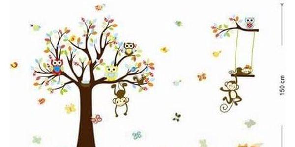 Samolepka na zeď Samolepka pohádkový strom sovičky, opice 150 cm4