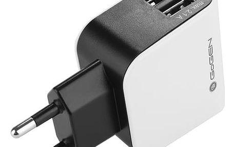Nabíječka do sítě GoGEN ACH 200, 2x USB, 2,1A černá/bílá (GOGACH200)