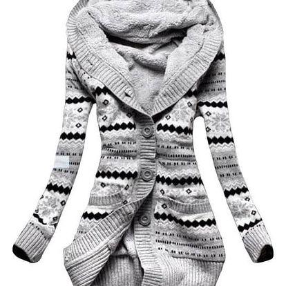 Dlouhý svetr s hřejivým kožíškem