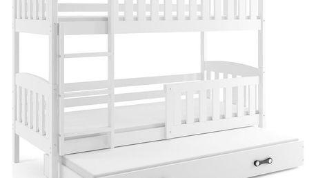 Patrová postel s přistýlkou KUBUS 3 90x200 cm, bílá/bílá Pěnová matrace